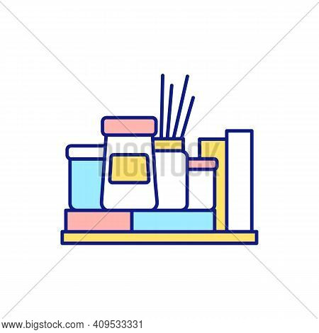 Organizing On Shelf In Cook Room Rgb Color Icon. Cleaning Services And Decluttering. Using Storage S