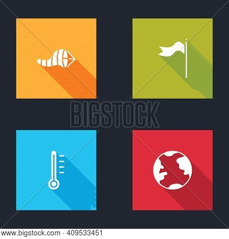 Set Cone Meteorology Windsock Wind Vane, Meteorology, Thermometer And Earth Globe Icon. Vector