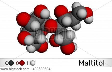 Maltitol Molecule. It Is Sweetener, Sugar Substitute, Polyol, Sugar Alcohol. Molecular Model. 3d Ren