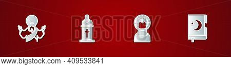 Set Jesus Christ, Church Pastor Preaching, And Holy Book Of Koran Icon. Vector