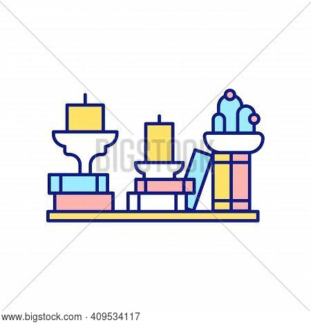 Room Decoration Rgb Color Icon. Using Home Decor. Cluttering And Littering House. Storage Of Things.