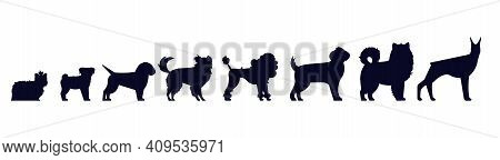 Dogs Breed Silhouettes. Pedigree Puppies As Doberman And Malamute, Labrador And Poodle, Shepherd And