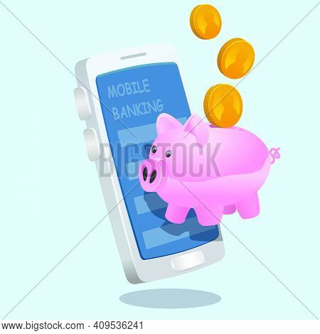 Piggy Bank In Front Of Mobile Banking Smartphone Screen. Mobile Banking System Vector Illustration.