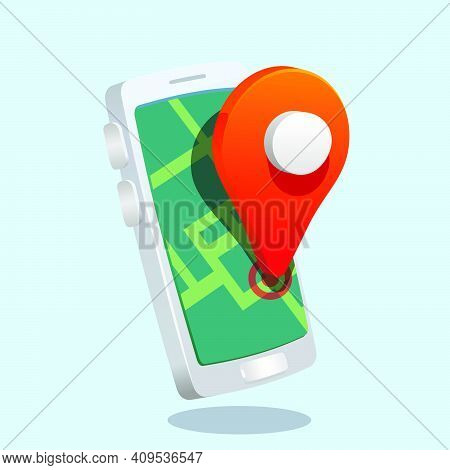 Map Pin Location  In Smartphone. Geo Locate, Pointer Icon. 3d Style Ty Like Vector Illustration