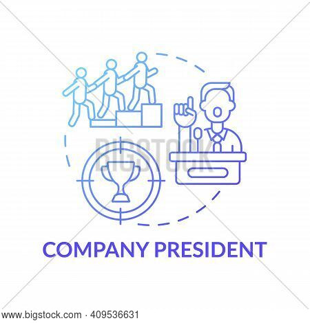 Company President Concept Icon. Company Top Management Jobs. Leader Of Company Executive Groups. Bus