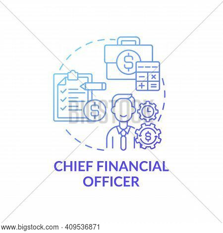Chief Financial Officer Concept Icon. Top Management Positions. Managing Financial Spendings Of Comp