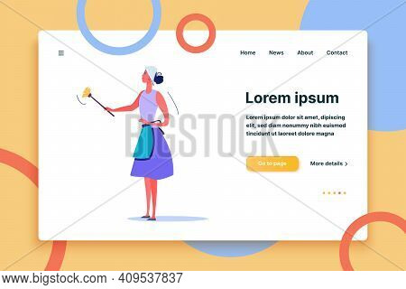 Woman Removing Dust With Yellow Duster. Daily Life And Routine By Young Woman At Home Flat Vector Il