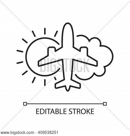 Aeronautical Meteorology Chalk Linear Icon. Civil Aviation Issues. Safety Flights. Thin Line Customi