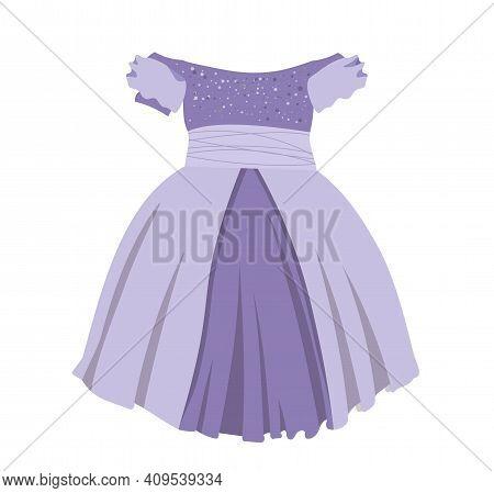 Princess Dress Isolated On White Background. Children's Festive Dress For Girls. Nice Elegant Dress.
