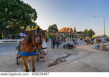 The Horse Carriage Parked In Front Wat Phra That Lampang Luang An Important Annual Birth Temple Lann
