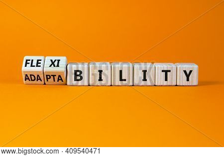 Flexibility And Adaptability Symbol. Turned Wooden Cubes And Changed Words 'adaptability' To 'flexib