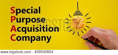 Spac, Special Purpose Acquisition Company Symbol. Word 'spac' On Beautiful Yellow Background, Copy S