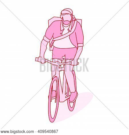 Isolated Bike Currier Character Wear Back Pack And Hat. Bike Messenger Bearded Male Character Hipste