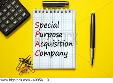 Spac, Special Purpose Acquisition Company Symbol. White Note With Words 'spac' On Beautiful Yellow B