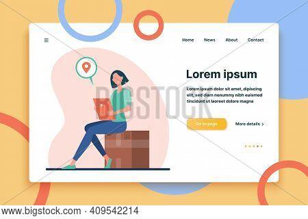 Woman With Tablet Mailing Package. Sender Inserting Address Online, Sending Big Box Flat Vector Illu