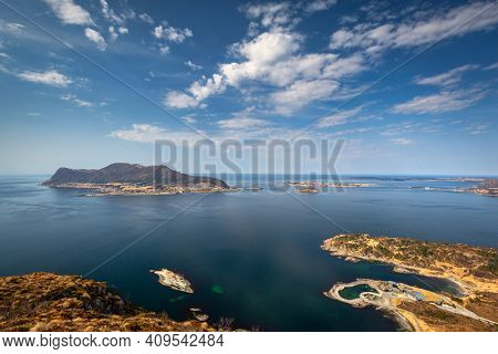 Beautiful landscape of the Norwegian Sea fjords at sunny day, Norway