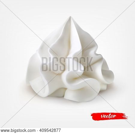 Whipped Cream Isolated On White Background. 3d Realistic Vector Illustration Of Sour Cream.