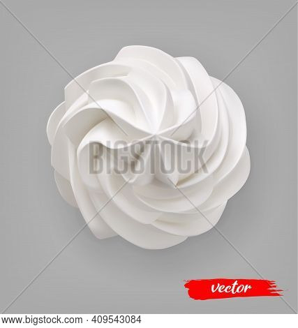 Whipped Cream Swirl On Gray Background. 3d Realistic Vector Illustration Of Whipped Cream. Top View.