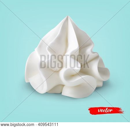 Whipped Cream Isolated On Blue Background. 3d Realistic Vector Illustration Of Sour Cream.
