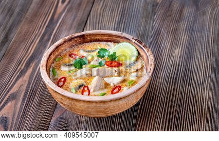 Bowl Of Tom Kha Kai - Thai Chicken Coconut Soup