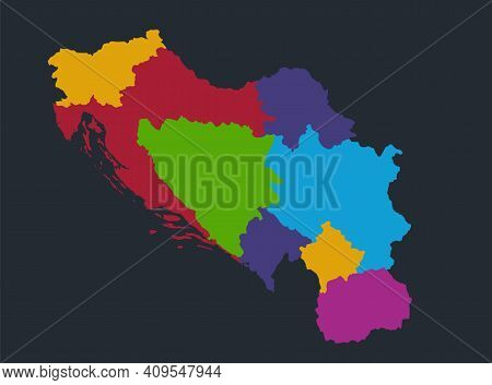 Infographics Yugoslavia Map, Flat Design Colors, Individual Administrative Division, Blue Background