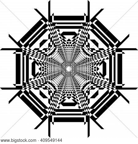 Abstract Frame Spider Illusion Arabesque Intersections Black On Transparent Background Designer Cut