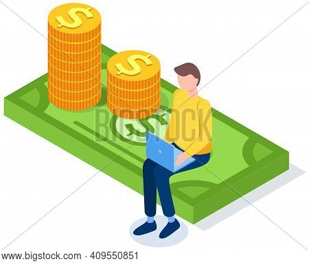Man Works On Computer In Banking Sector. Money, Bills And Foreign Currency Concept. Businessman Sitt