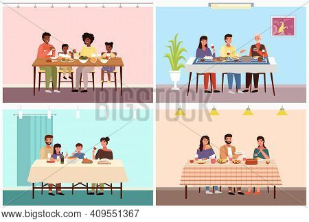 Set Of Illustrations On The Topic Of Families In Different Countries Dine On Traditional National Fo