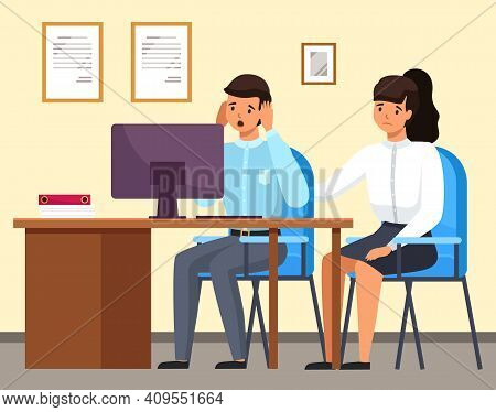 Man And Woman Sitting At A Table With Computer Upset Business People In Sad Feeling And Emotional Co