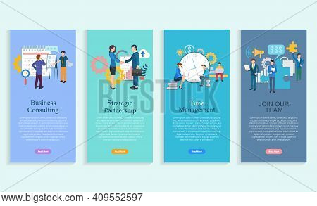Business Consulting, Strategic Partnership, Time Management, Join Our Team App Slider Set. Company P