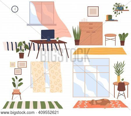 Set Of Four Scenes Of Home Interior. Cozy Place Of The Room Near Window With Chairs And Table With A