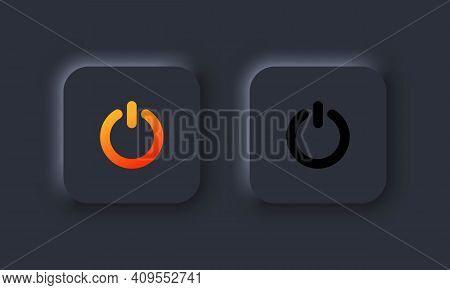 Power Icon In Neumorphism Style. Power On Off User Interface. On Off Buttons. User Interface Element