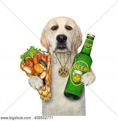 A Dog Labrador Holds A Bottle Of Beer And Soft Waffles With Chicken Nuggets. White Background. Isola