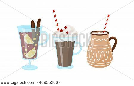Winter Hot Drinks With Mulled Wine In Glass And Hot Chocolate In Mug Vector Set