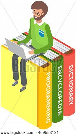 Online Library. Books In Your Laptop. Young Man Love To Read Sitting On Stack Of Large Books And Usi