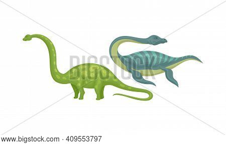 Different Dinosaurs As Terrestrial Reptiles Of Jurassic Period Vector Set
