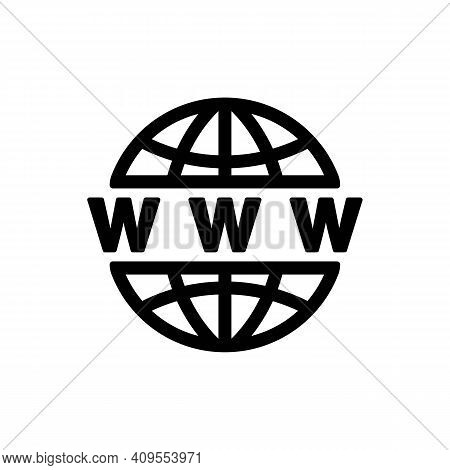 Web Icon. Www Icon. Website Or Internet Flat Vector Icons For Apps And Websites. Go To Web Symbol. V