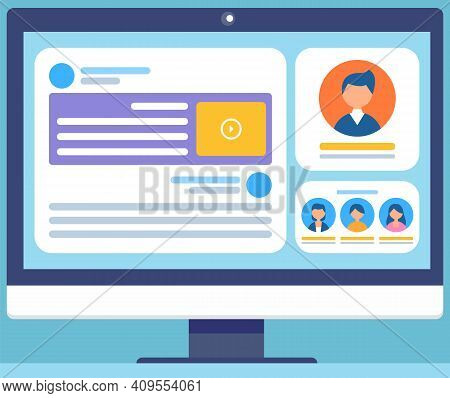 Social Network Concept With Monitor Screen And Webpage For Web And Infographic On Blue Background. B