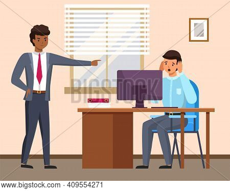 Layoff Concept. Boss Dismissed Employee. Unhappy Fired Man Sitting At Workplace At A Table With Comp