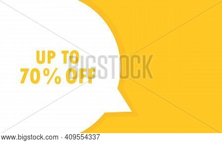 Up To 70 Percent Off Post Speech Bubble Banner. Can Be Used For Business, Marketing And Advertising.
