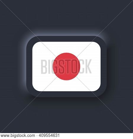 Flag Of Japan. National Japan Flag. Japanian Symbol. Vector. Simple Icons With Flags. Neumorphic Ui