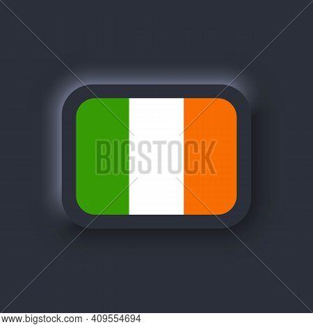 Flag Of Ireland. National Ireland Flag. Irelandian Symbol. Vector. Simple Icons With Flags. Neumorph