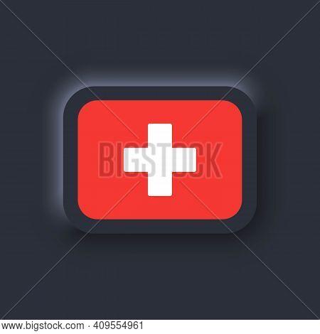 Flag Of Switzerland. National Switzerland Flag. Vector. Simple Icons With Flags. Neumorphic Ui Ux Da