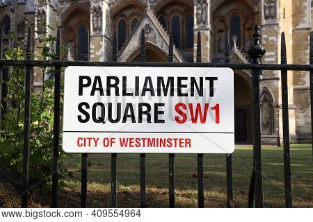 London, Uk - July 12, 2019: Parliament Square Sign In London, Uk. London Is The Most Populous City I