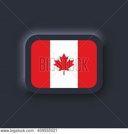 Flag Of Canada. National Canada Flag. Canadian Symbol. Vector. Simple Icons With Flags. Neumorphic U