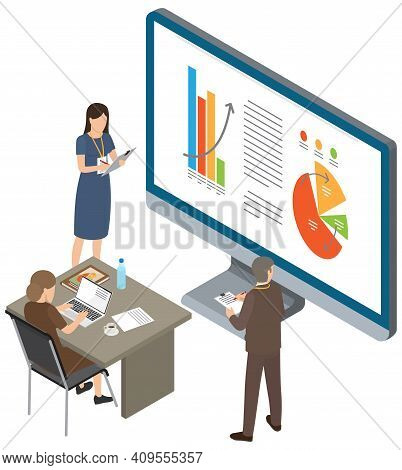 Businessman Makes Presentation To Colleagues. Office Workers Characters Discussing Indicators. Busin
