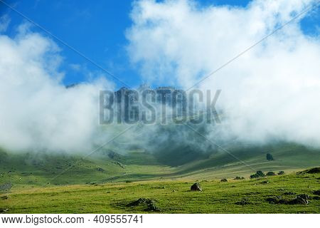 Lush And Smooth Alpine Meadows (alp Grassland) On Plateau (three Thousand Meters A. S. L.) As Ideal