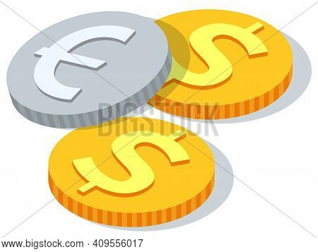 Coins Bunch Vector Flat Illustration, Dollar Golden Coins Modern Design Isolated On White Background