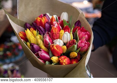 Beautiful Bouquet Of Multi-colored Tulips In A Flower Shop.