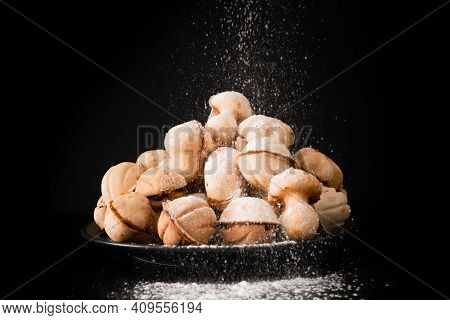 Cookies Nuts With Condensed Milk. Homemade Shortbread Nuts With Condensed Milk.